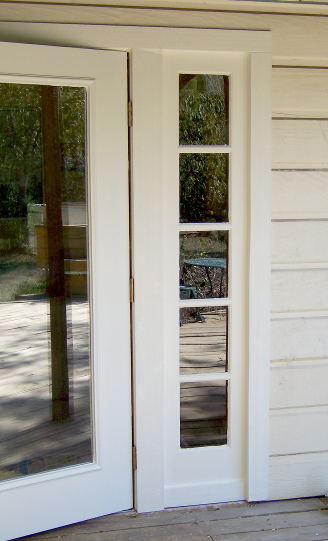 Right side of outswing french door after installation