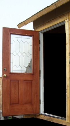 Outswing door from outside, opened