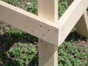 Picture of construction detail of sawhorse showing leg braces